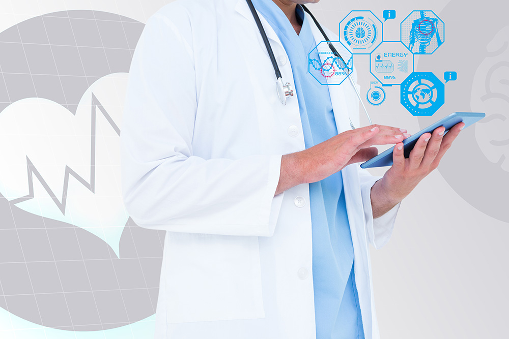 composite image of doctor using digital tablet